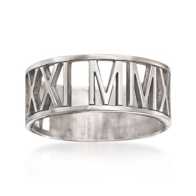 Sterling Silver Personalized Roman Numeral Ring, , default