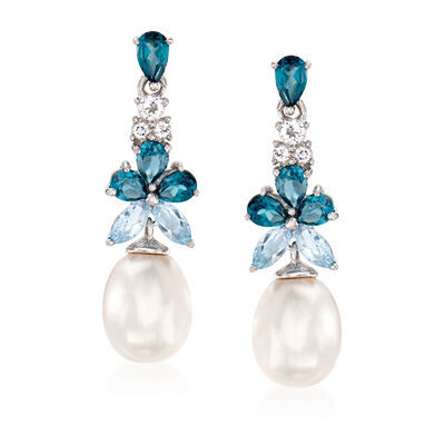 8.5-9mm Cultured Pearl and 2.30 ct. t.w. Blue and White Topaz Drop Earrings in Sterling Silver, , default