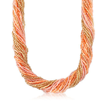 Italian Multicolored Murano Glass Bead Torsade Necklace in 18kt Yellow Gold Over Sterling Silver, , default