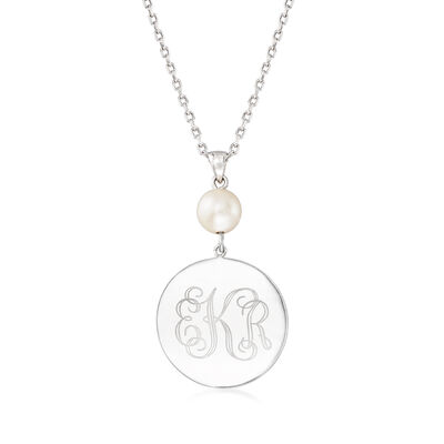 Sterling Silver Personalized Disc Necklace with 8-9mm Cultured Pearl, , default