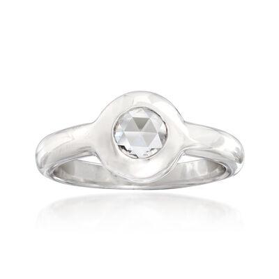 C. 2000 Vintage .20 Carat Bezel-Set Diamond Ring in 18kt White Gold, , default