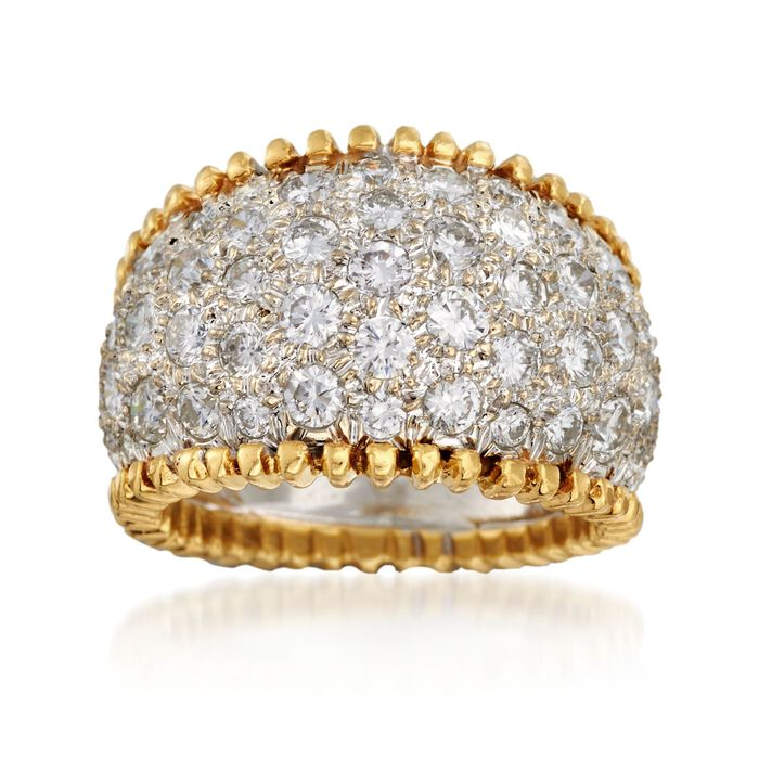 C. 1980 Vintage 3.50 ct. t.w. Pave Diamond Wide Ring in 18kt Yellow Gold. Size 6.5, , default