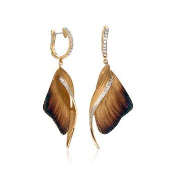 Simon G. .37 ct. t.w. Diamond Butterfly Drop Earrings in 18kt Yellow Gold
