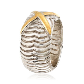 Sterling Silver and 14kt Yellow Gold Ribbed X Ring, , default