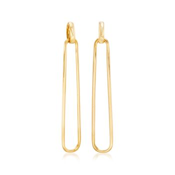 Italian 18kt Gold Over Sterling Elongated Oval-Link Drop Earrings, , default