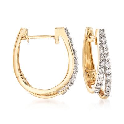 .25 ct. t.w. Diamond Split Hoop Earrings in 14kt Yellow Gold, , default