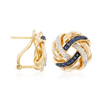 .40 ct. t.w. Sapphire and .10 ct. t.w. Diamond Love Knot Earrings in 18kt Gold Over Sterling