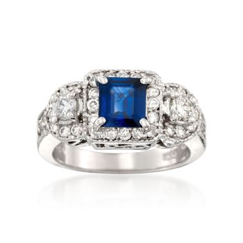 .90 Carat Sapphire and .91 ct. t.w. Diamond Ring in 18kt White Gold, , default
