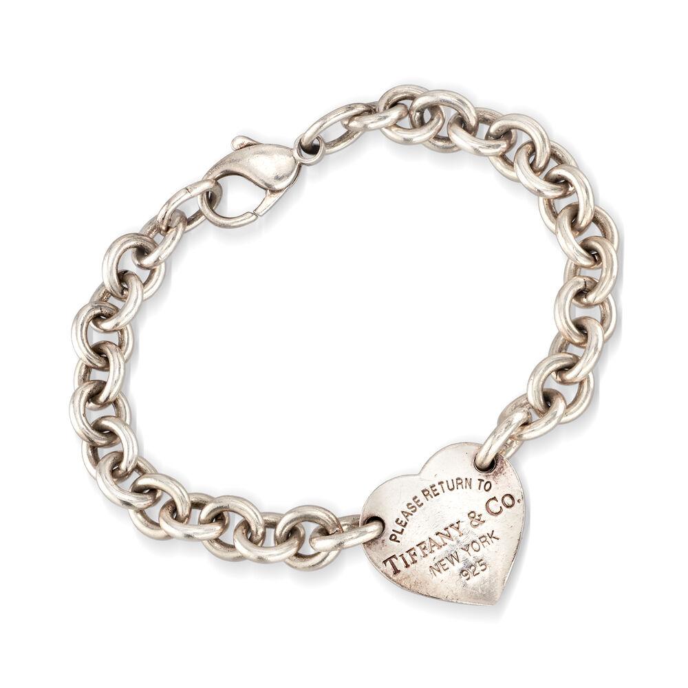 C 1990 Vintage Tiffany Jewelry Sterling Silver Heart Link Bracelet Ross Simons