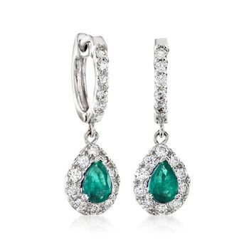 .70 ct. t.w. Emerald and .70 ct. t.w. Diamond Drop Earrings in 14kt White Gold, , default