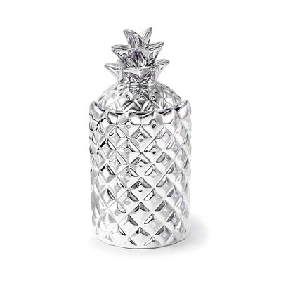 """Thompson Ferrier """"White Tea & Mint"""" Silver Pineapple Candle"""