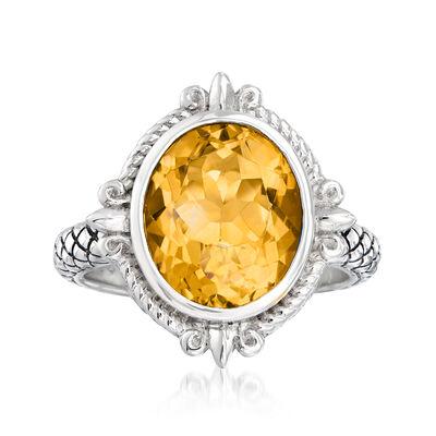 """Andrea Candela """"Fleur De Lis"""" 3.82 Carat Citrine Ring in Sterling Silver, , default"""
