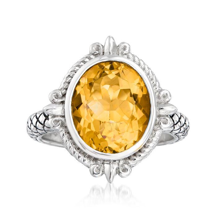 """Andrea Candela """"Fleur De Lis"""" 3.82 Carat Citrine Ring in Sterling Silver"""