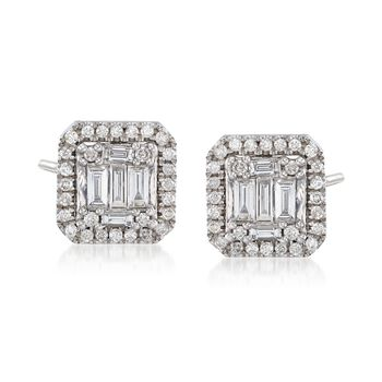 .68 ct. t.w. Round and Baguette Diamond Earrings in 14kt White Gold, , default