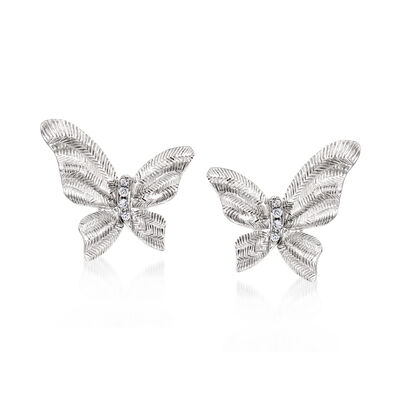 C. 1990 Vintage Piero Milano 18kt White Gold Butterfly Earrings with Diamond Accents, , default