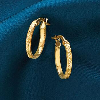 "Italian 18kt Yellow Gold Textured Hoop Earrings. 5/8"""