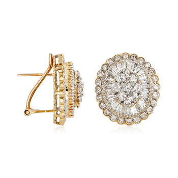 C. 1990 Vintage 4.00 ct. t.w. Diamond Cluster Earrings in 18kt Yellow Gold, , default