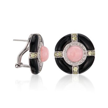 Multi-Stone and Black Agate Earrings in Sterling Silver