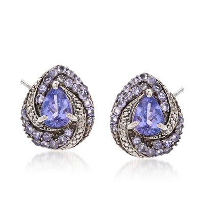 3.05 ct. t.w. Tanzanite and White Zircon Swirl Drop Earrings in Sterling Silver, , default