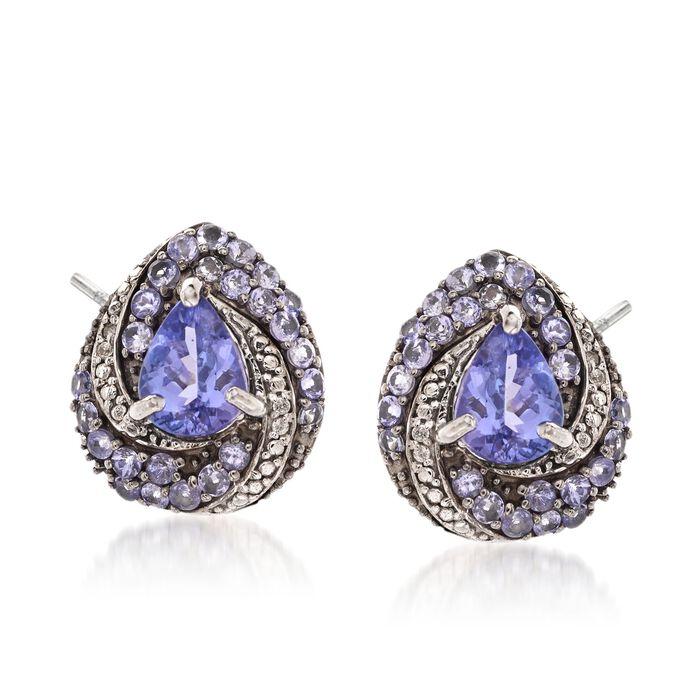3.05 ct. t.w. Tanzanite and White Zircon Swirl Drop Earrings in Sterling Silver