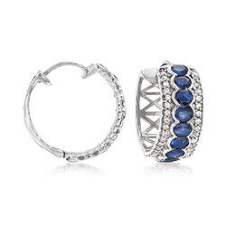 3.60 ct. t.w. Sapphire and .60 ct. t.w. White Zircon Hoop Earrings in Sterling Silver, , default