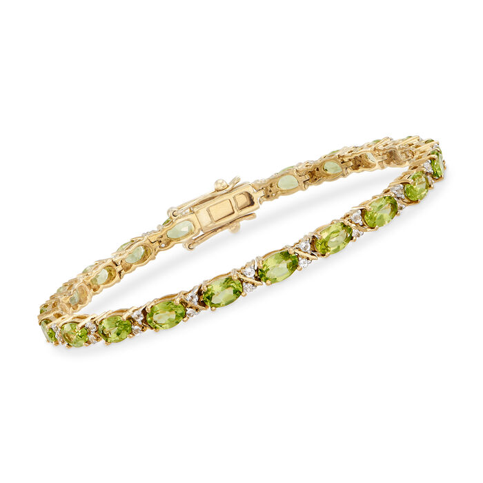 8.50 ct. t.w. Peridot and .80 ct. t.w. White Topaz Tennis Bracelet in 18kt Gold Over Sterling, , default