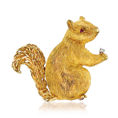 C. 1970 Vintage 18kt Yellow Gold Squirrel Pin with Ruby and Diamond Accents, , default