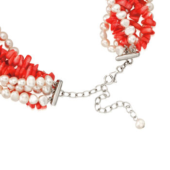 """Coral and Cultured Pearl Torsade Necklace with Sterling Silver. 18"""", , default"""