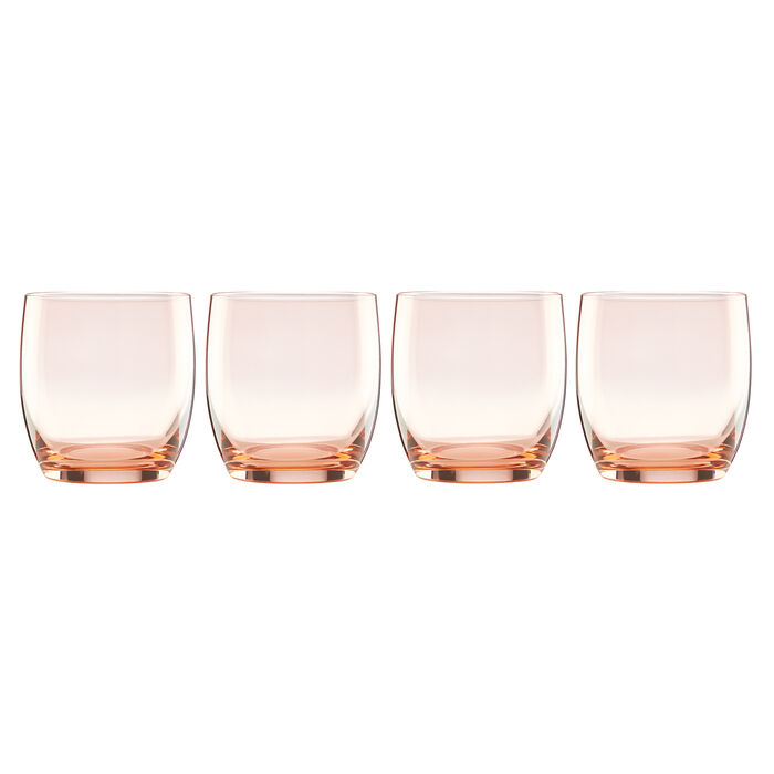 """Lenox """"Valencia"""" Set of 4 Peach Double Old-Fashioned Glasses, , default"""