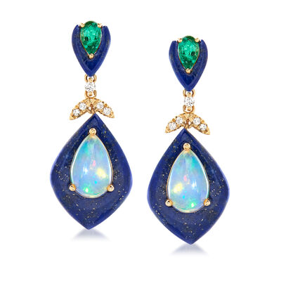 Opal, Lapis and .40 ct. t.w. Emerald Drop Earrings in 14kt Yellow Gold