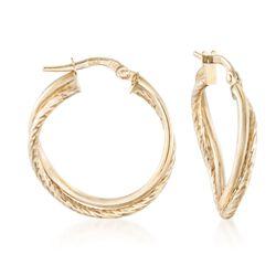 """Italian 14kt Yellow Gold Double Hoop Earrings. 7/8"""", , default"""