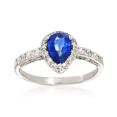 .70 Carat Sapphire and .45 ct. t.w. Diamond Ring in 14kt White Gold, , default