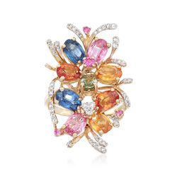 5.20 ct. t.w. Multicolored Sapphire and .26 ct. t.w. Diamond Ring in 14kt Yellow Gold, , default