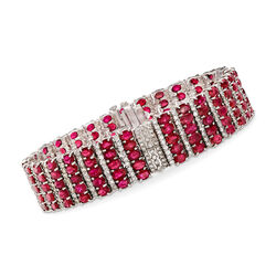 20.00 ct. t.w. Ruby and 5.75 ct. t.w. Diamond Multi-Row Bracelet in 14kt White Gold, , default