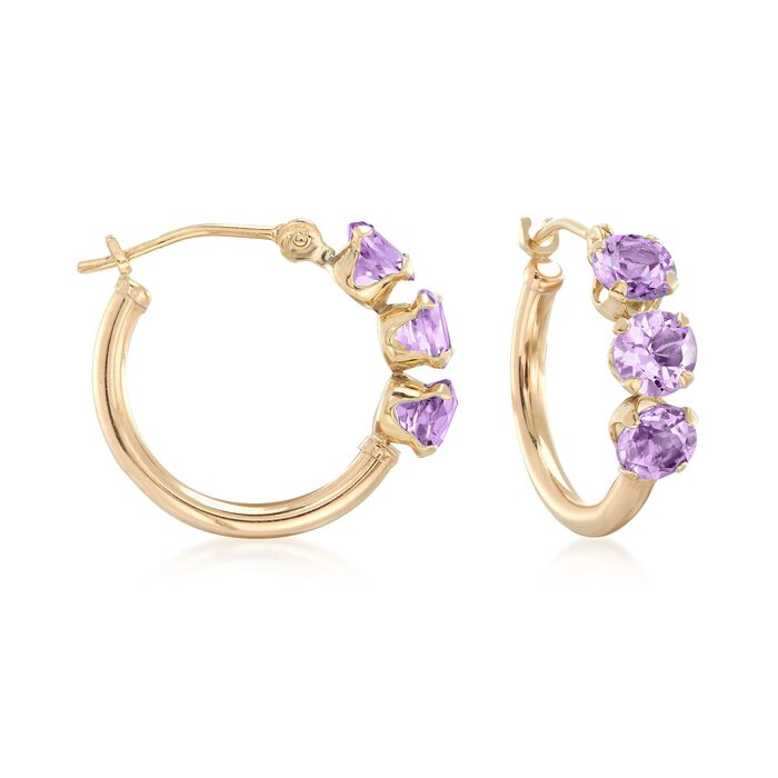 1.20 ct. t.w. Amethyst Huggie Hoop Earrings in 14kt Yellow Gold
