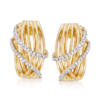 .19 ct. t.w. Diamond Sash Earrings in 14kt Yellow Gold, , default