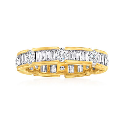 2.00 ct. t.w. Baguette and Round Diamond Eternity Band in 14kt Yellow Gold