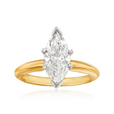 2.13 Carat Diamond Solitaire Ring in 14kt Yellow Gold
