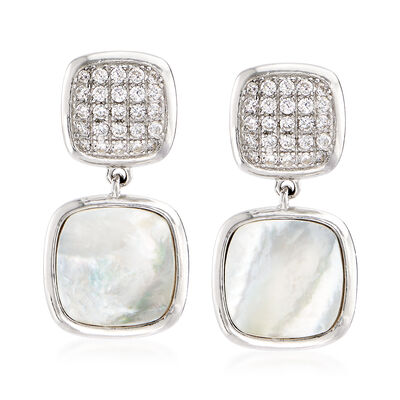 Mother of Pearl and .30 ct. t.w. CZ Drop Earrings in Sterling Silver, , default