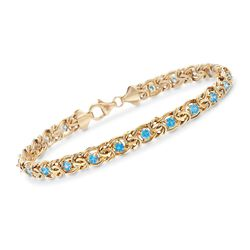 "3.90 ct. t.w. Blue Topaz Byzantine Bracelet in 14kt Yellow Gold. 8"", , default"