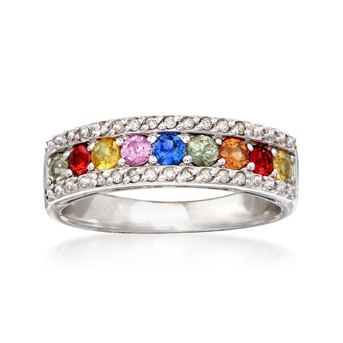 1.20 ct. t.w. Multicolored Sapphire Ring in Sterling Silver, , default