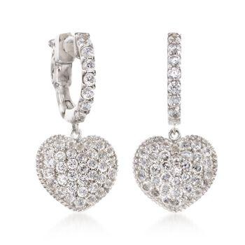 .30 ct. t.w. CZ Heart Drop Earrings in Sterling Silver