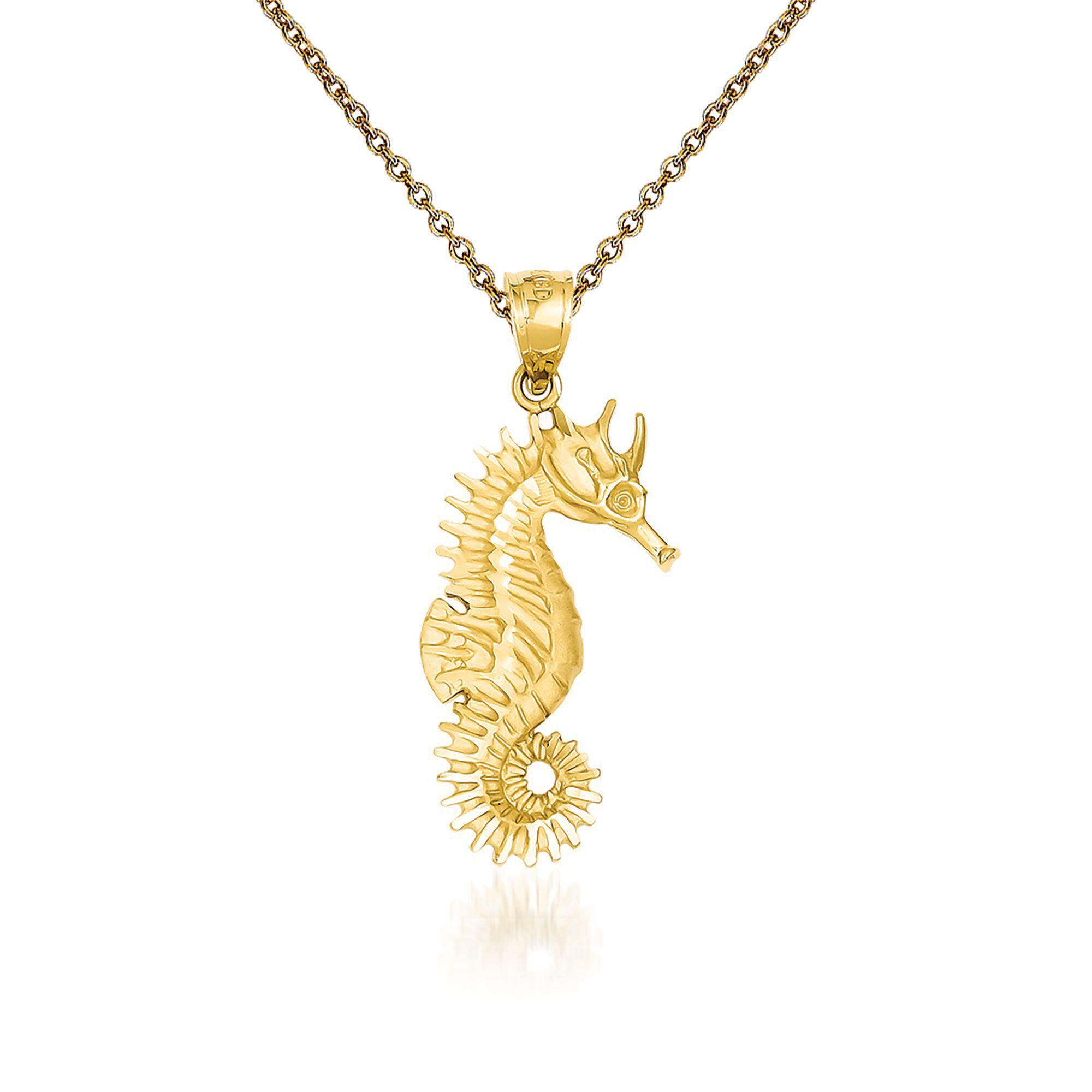 14k Yellow Gold Open Seahorse Pendant Necklace
