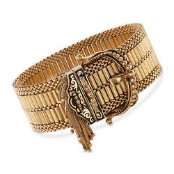 """C. 1940 Vintage 14kt Yellow Gold and Enamel Fringe Buckle Bracelet. 7.5"""", , default"""