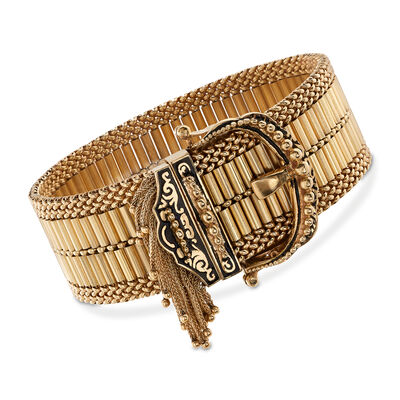 C. 1940 Vintage 14kt Yellow Gold and Enamel Fringe Buckle Bracelet, , default