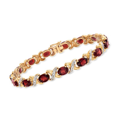 C. 1990 Vintage 15.00 ct. t.w. Garnet and .12 ct. t.w. Diamond X Bracelet in 14kt Yellow Gold