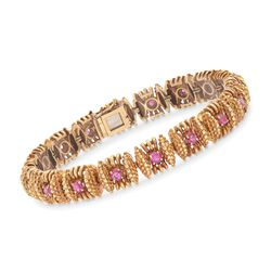 "C. 1950 Vintage 1.80 ct. t.w. Ruby Station Bracelet in 18kt Yellow Gold. 7"", , default"