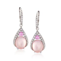 Rose Quartz Doublet Drop Earrings With Pink Sapphires and White Topaz in Sterling Silver, , default