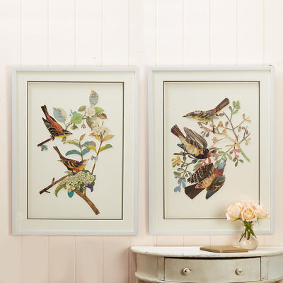 Set of 2 Birds Paper Collage Wall Art, , default