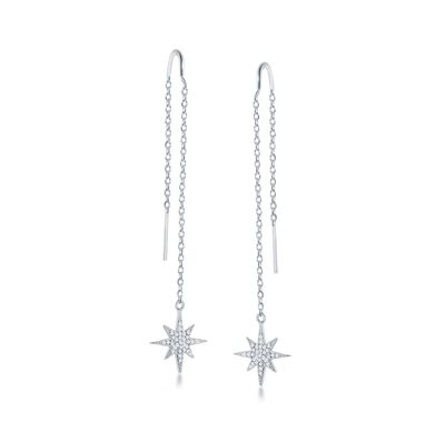 .40 ct. t.w. CZ Starburst Drop Threader Earrings in Sterling Silver, , default